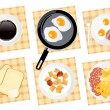Breakfast food set on isolated — Stock Vector