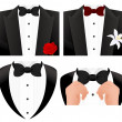 Bow tie set — Stock Vector