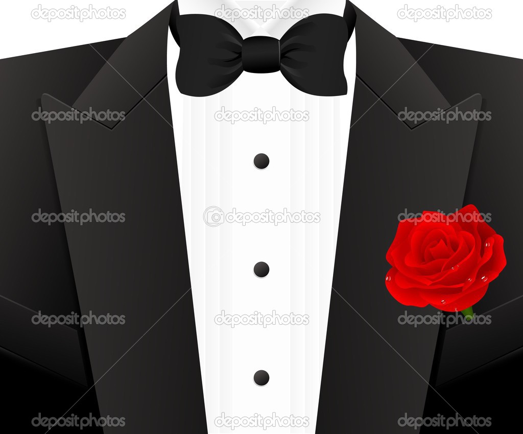 Bow tie with rose, vector illustration — Stock Vector #2599960
