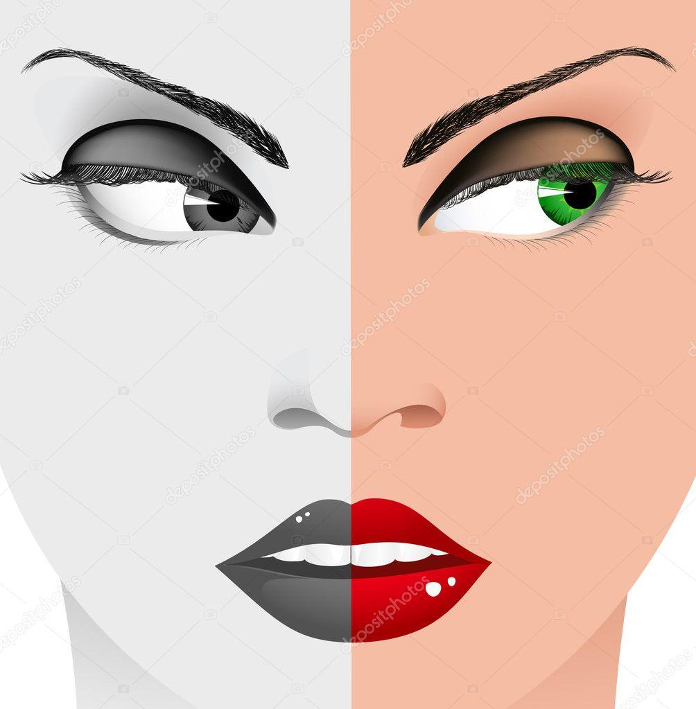 Woman Face Black And White Cara de mujer blanco y negro