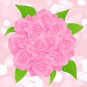 Pink rose bunch — Stock Vector
