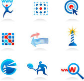 Collection of seo icons and logos — Stock Vector