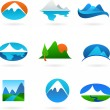 Collection of mountain related icons - Stock Vector
