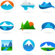 Collection of mountain related icons — Stock Vector