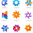 Stock Vector: Collection of abstract star icons