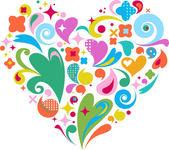 Decoratieve vector hart voor valentijnskaarten d — Stockvector
