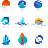Collection of sea related icons — ストックベクタ