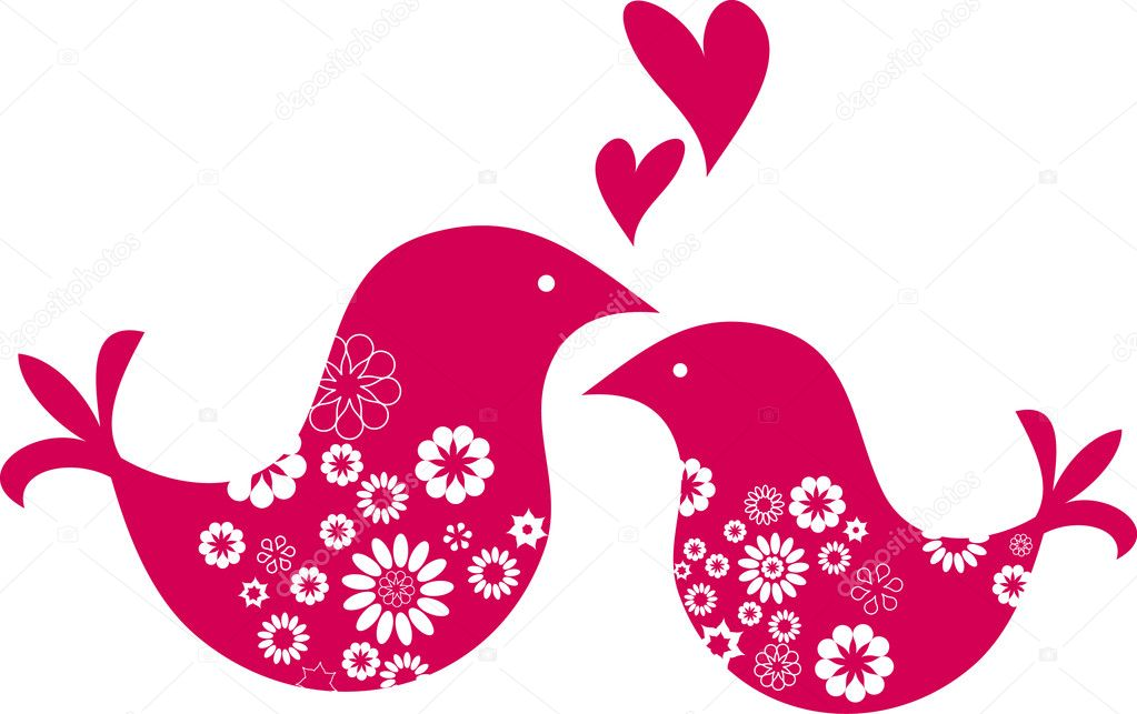 Cute decorative birds - Valentine's day greeting card — Imagens vectoriais em stock #1777464