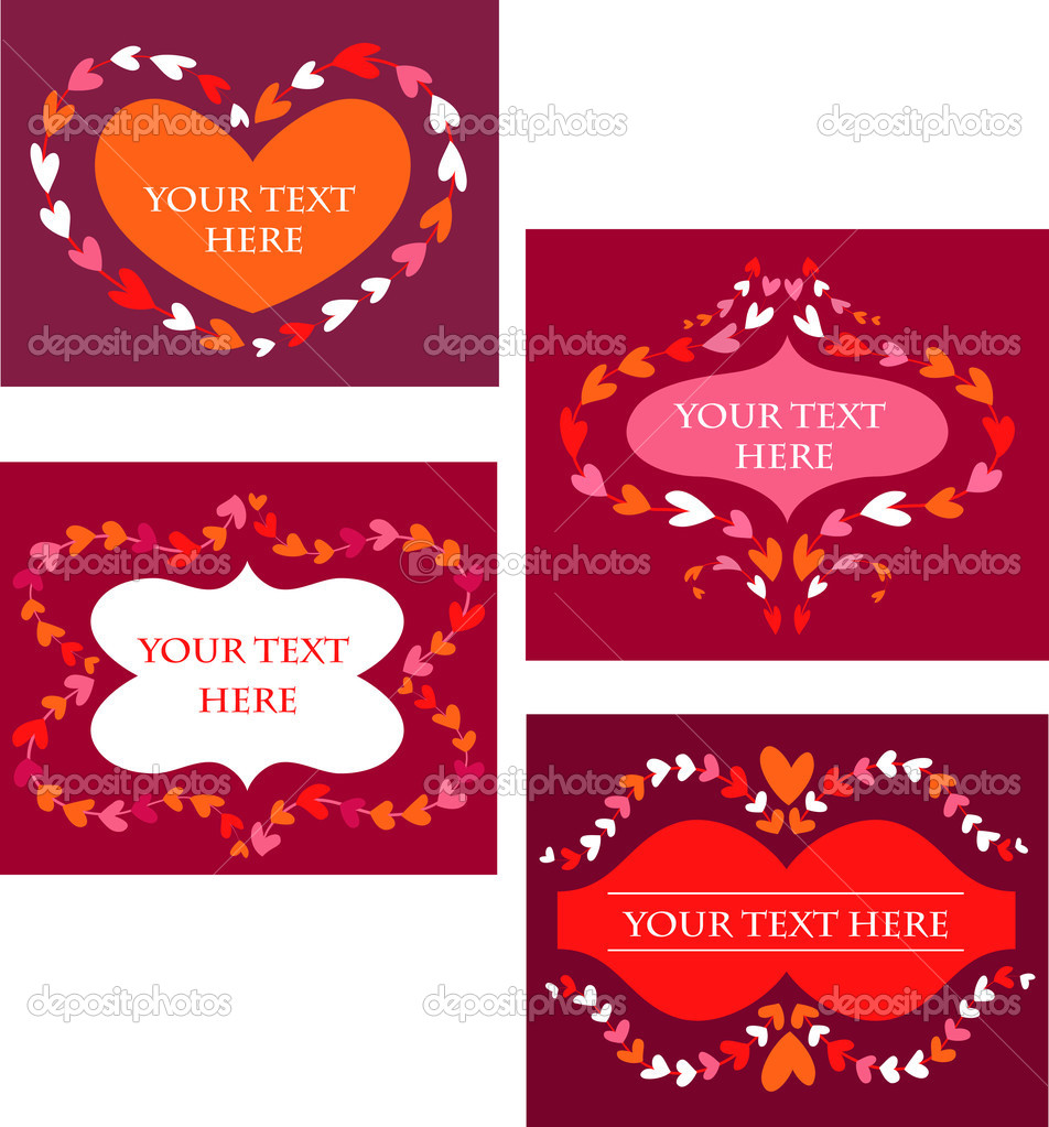 Cute decorative vintage frames for Valentine's day greeting card — Stock Vector #1777485