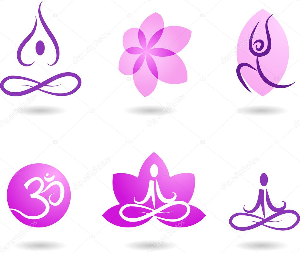 A set of yoga and meditation symbols and icons  Stockvectorbeeld #1779853