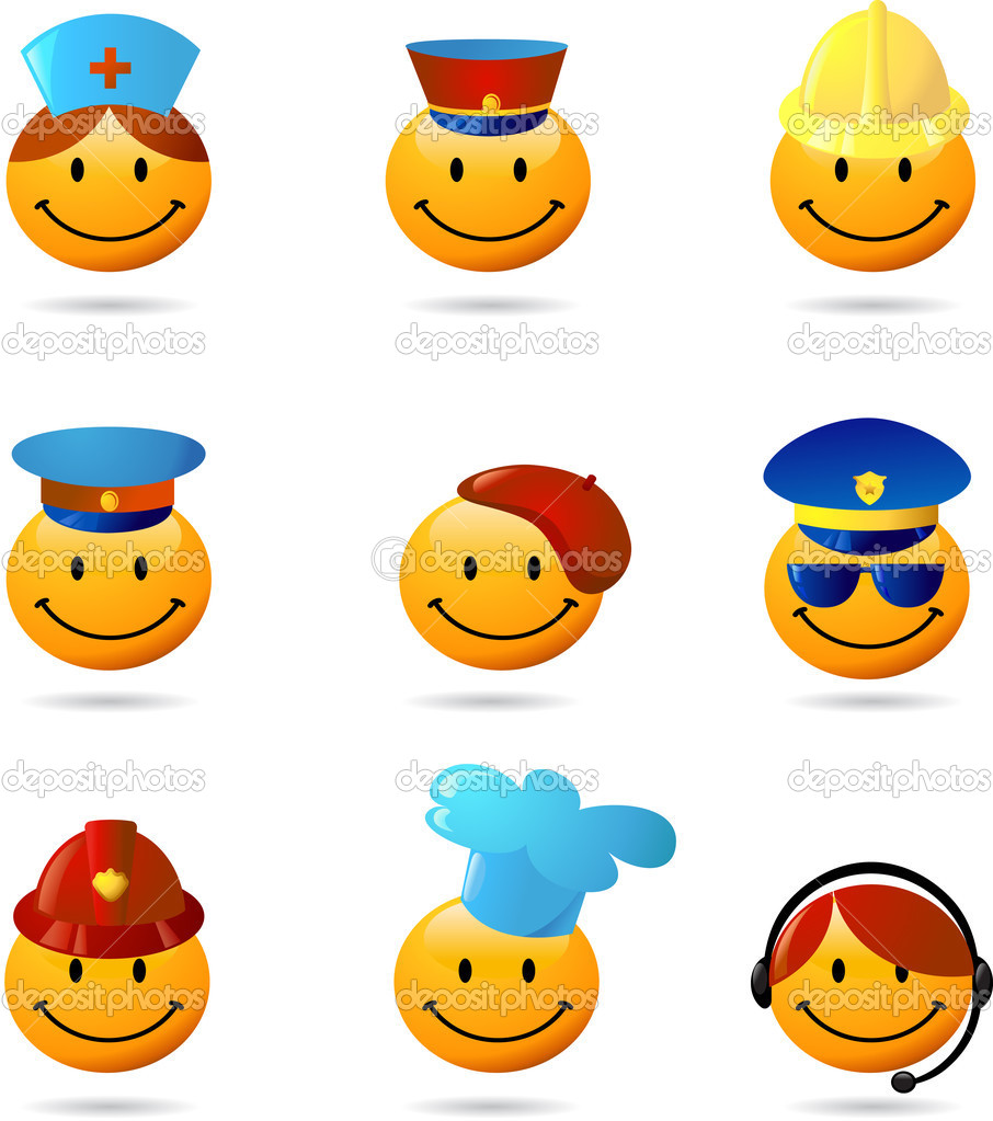 Smiley set with different professions stock illustration