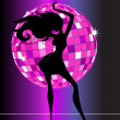Stock Vector: Sexy disco party girl