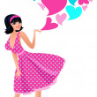 Cute girl in a pink dress — Stock Vector