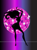 Sexy disco party girl — Stockvector