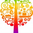 Stock Vector: Rainbow tree with ecological icons