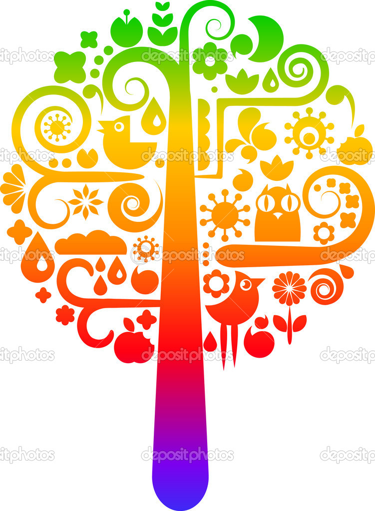 Colorful vector tree with icons of birds, butterflies and flowers — Stock Vector #1825373