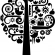 Cutout tree with ecological icons — Stok Vektör