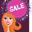 Sale poster with a pretty girl — Stock Vector