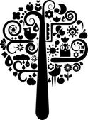 Cutout tree with ecological icons — Vetor de Stock