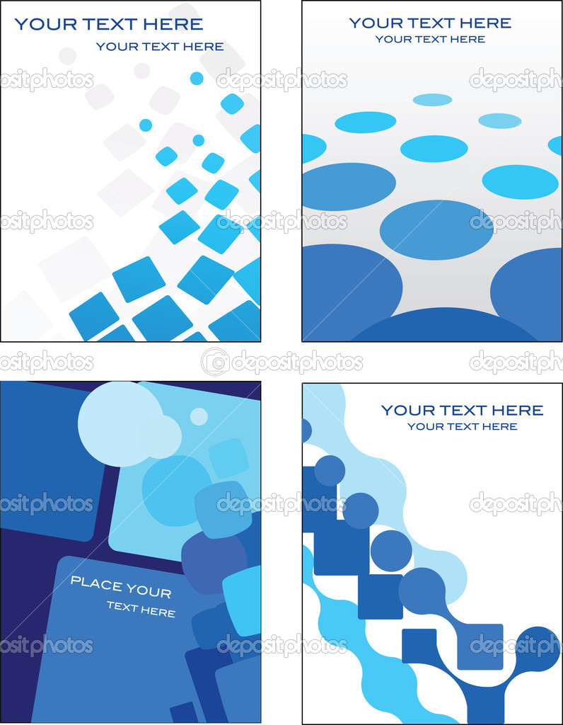 Collection of blue abstract geometric patterns - perfect for business card ans web templates  Stock Vector #1834527