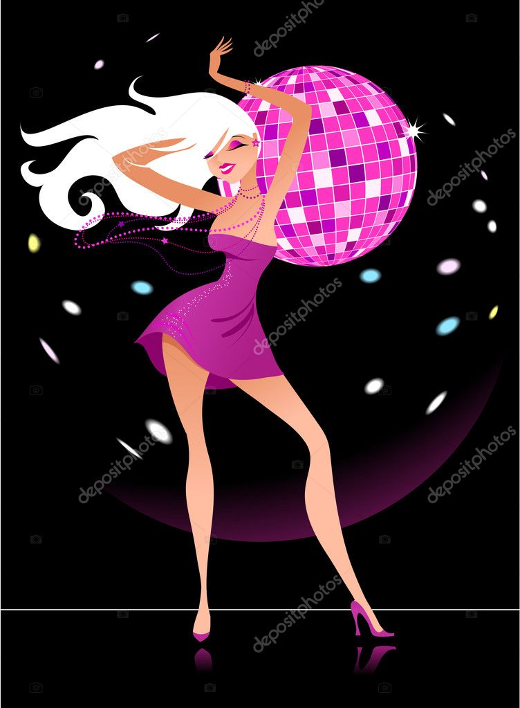 Sexy figure of a blond girl with a mirrorball at the background — Stock Vector #1834610