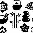 A set of orinental and Zen icons - Stok Vektr