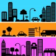 Stock Vector: Vector illustration of a city street