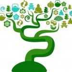 árvore verde e azul com zen e yoga ic — Vetorial Stock