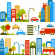 Cute vector illustration of a city stree - Stok Vektr