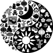 Yin Yang symbol made from Zen icons — Stock Vector