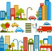 Illustrazione vettoriale carino di una città stree — Vettoriale Stock