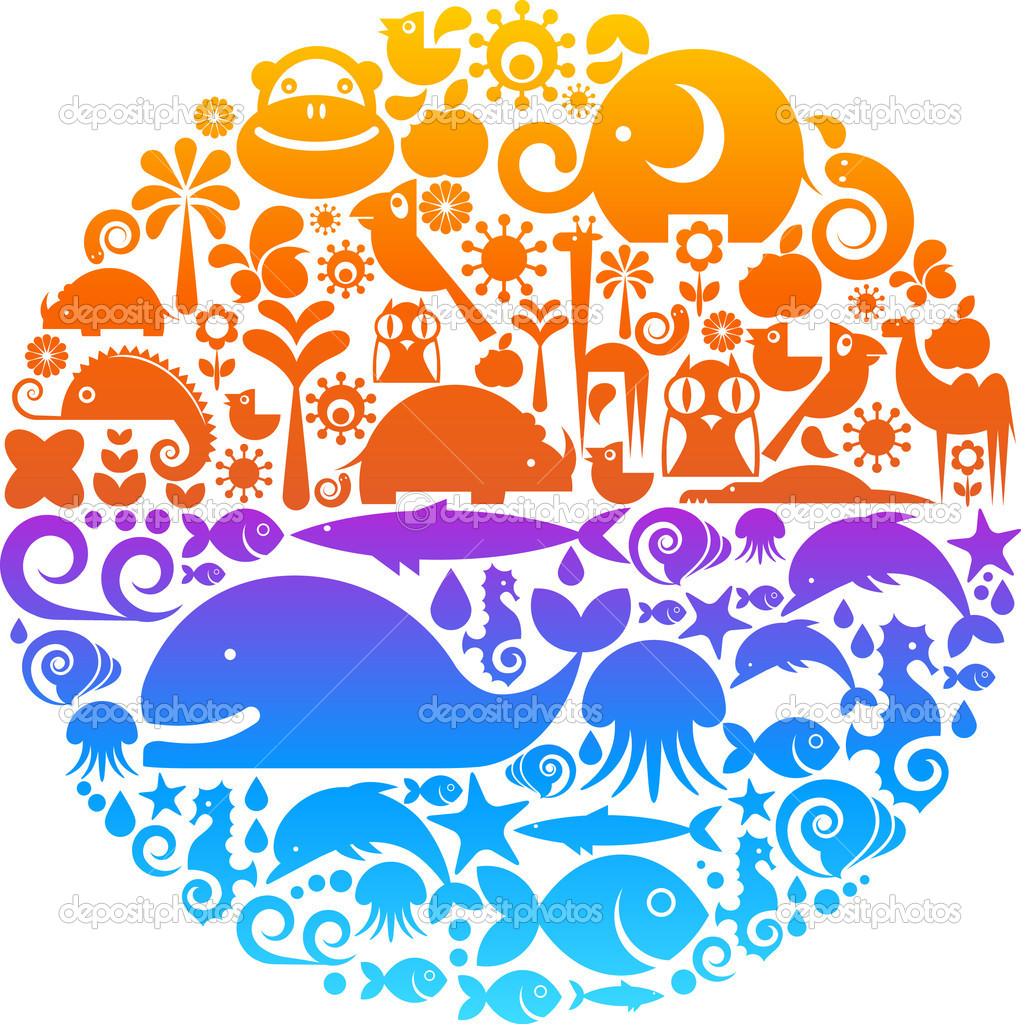 Collection of environmental signs and symbols on a background of colorful globe  Stockvectorbeeld #1904837