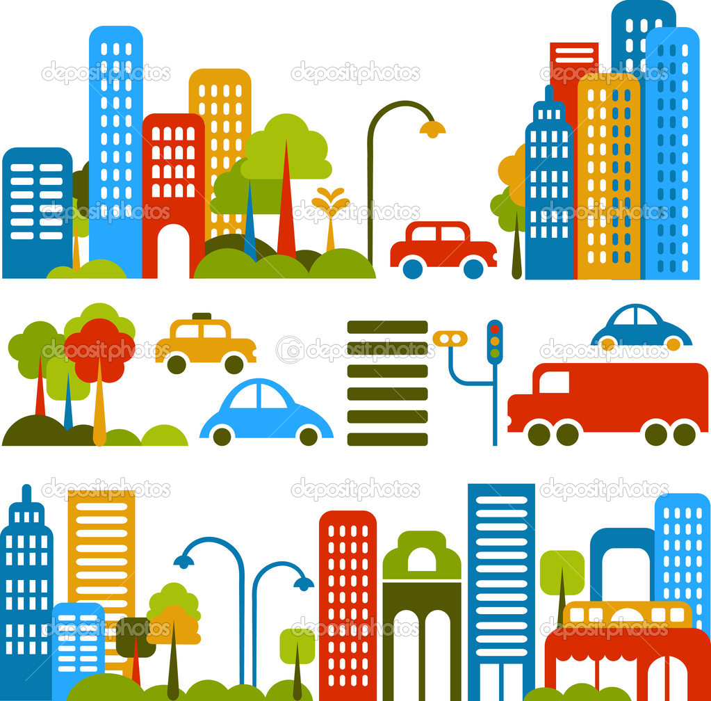 Vector illustration of a city street with colorful icons of cars, trees and buildings — Imagen vectorial #1904845