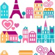 Cute vector illustration of Paris - Stok Vektör