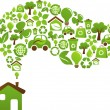 Ecological house - vector design - Stock Vector