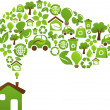 Ecological house - vector design - Image vectorielle