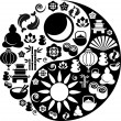 Yin Yang symbol made from Zen icons - Stok Vektr
