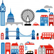 Vector illustration of London landmarks — Imagens vectoriais em stock