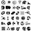 Collection of black and white icons — Stock Vector