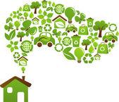 Ecological house - vector design — Stock Vector