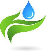 Goccia d'acqua con tre foglie — Vettoriale Stock