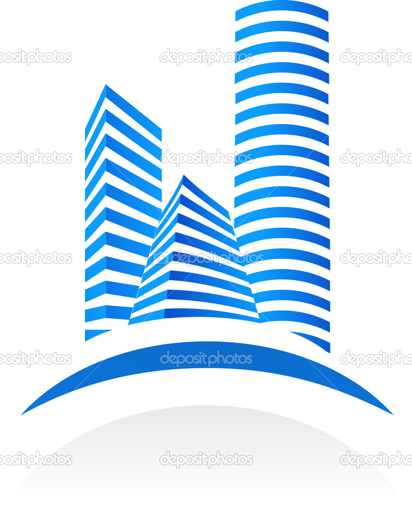 Blue vector real estate  symbol on white background  — ベクター素材ストック #2005373