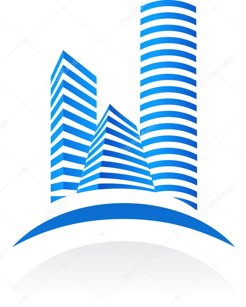 Blue vector real estate  symbol on white background  — Imagen vectorial #2005373