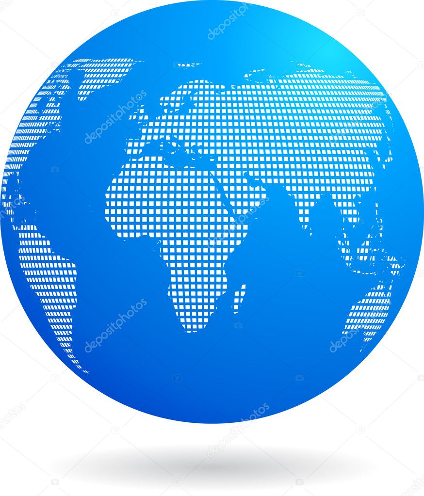 Blue globe background with binary dots white pattern — Stock Vector #2005388