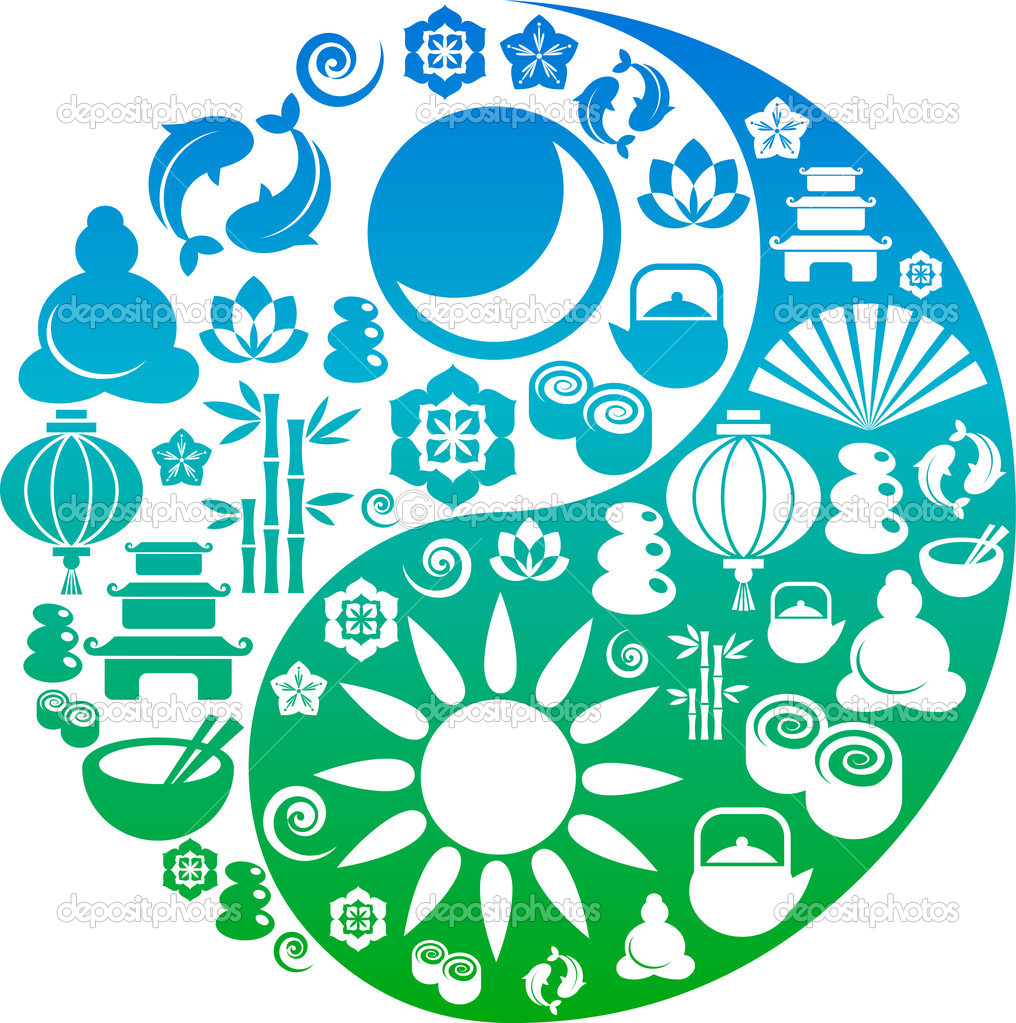 Vector Yin-Yang with collection of Zen and oriental icons  — Stock Vector #2005395