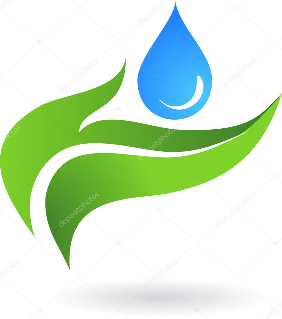 Water drop with three leaves  - vector icon design — Stock Vector #2005753