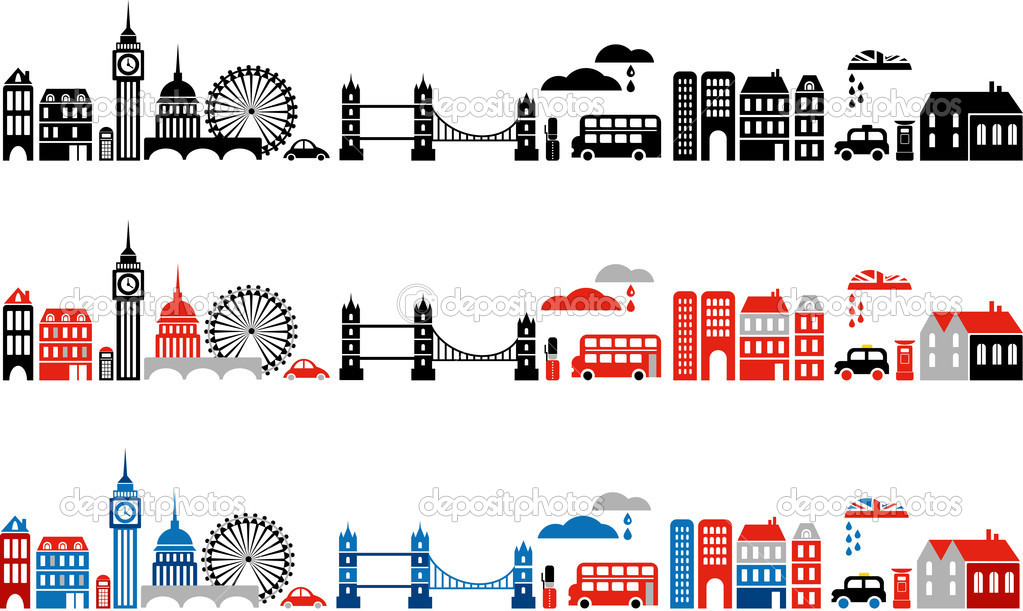 Vector illustration of London with colorful icons of double-deck buses and landmark buildings — Imagen vectorial #2005767
