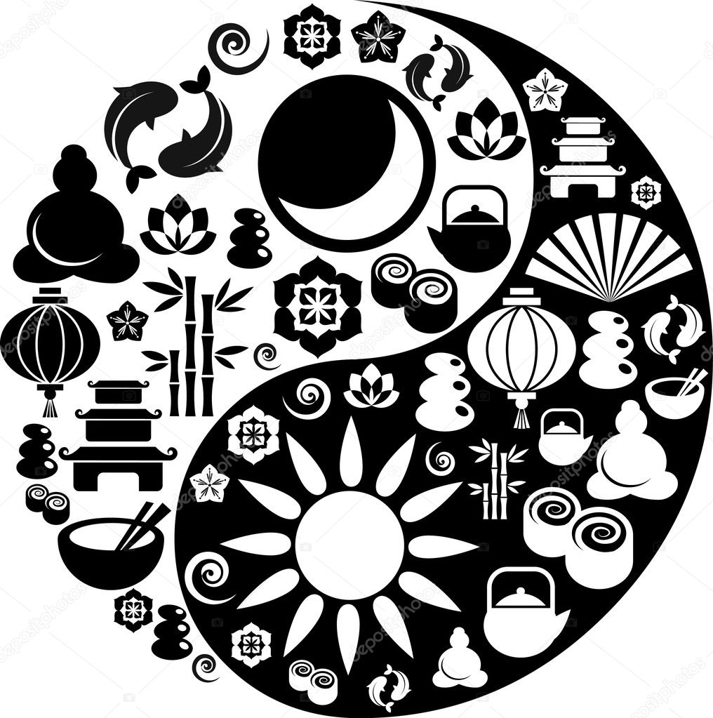Black and white vector Yin-Yang with collection of Zen and oriental icons  — Imagen vectorial #2005770