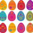 Collection of Easter eggs — Stock Vector