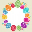 Template desing with colored Easter eggs — Imagen vectorial
